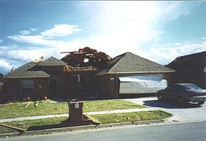 Damage left by an EF1 tornado