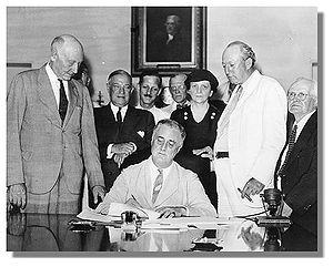 Roosevelt Signs The Social Security Act