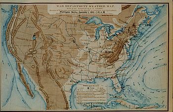 English: An early weather map produced by the ...